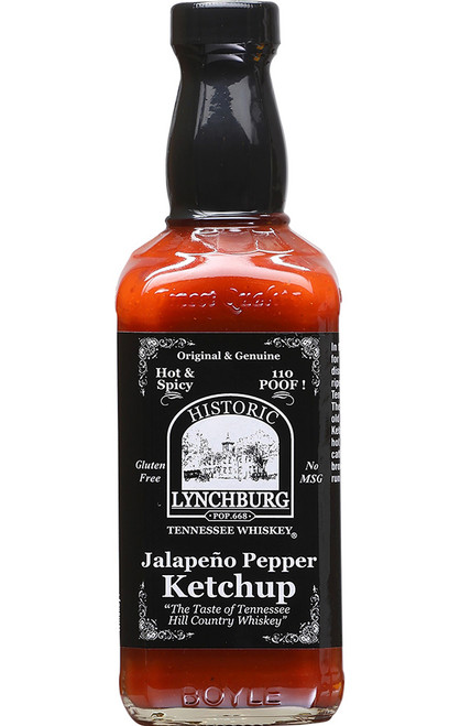 Historic Lynchburg Tennessee Whiskey Hot and Spicy 110 Proof Jalapeno Pepper Ketchup, 15oz.