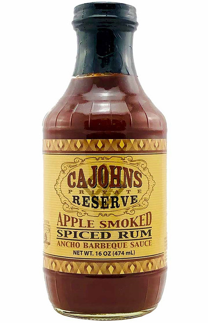 CaJohn's Apple Smoked Spiced Rum Ancho Barbeque Sauce, 16oz.