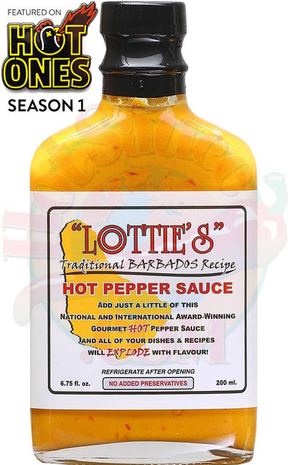Lottie's Traditional Barbados Yellow Hot Pepper Sauce, 6.75oz.