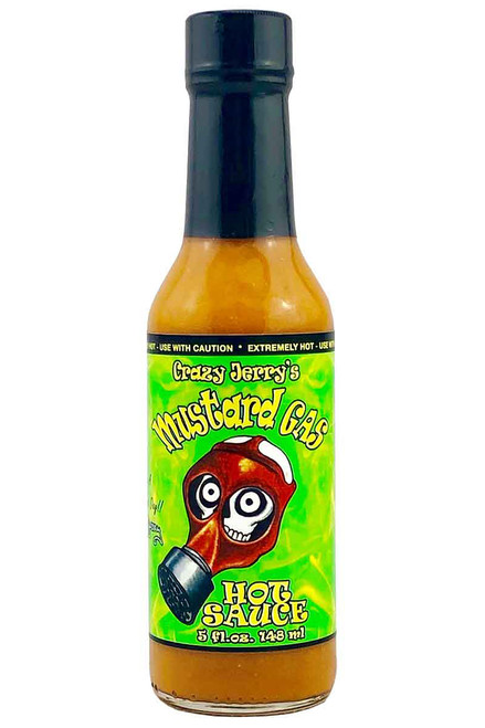 Crazy Jerry's Mustard Gas Hot Sauce, 4oz.