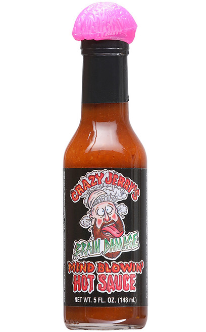 Crazy Jerry's Brain Damage Mind Blowin Hot Sauce, 5oz.