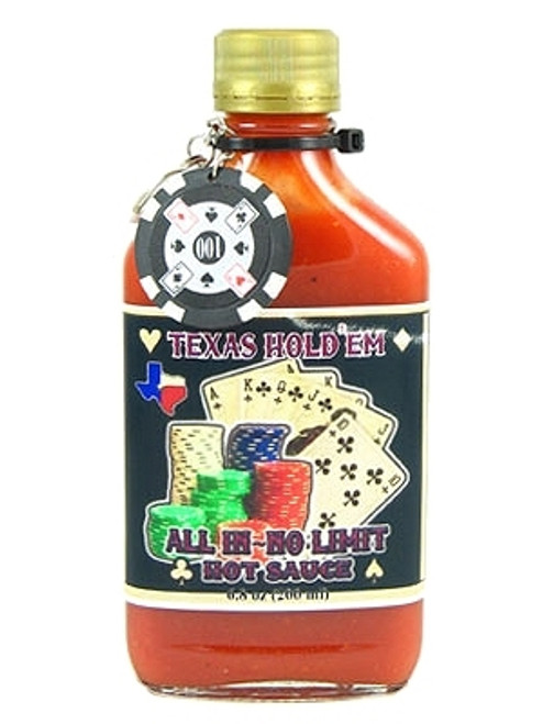 Texas Hold'em All In Hot Sauce w/ Poker Chip  Keychain, 6.5oz.