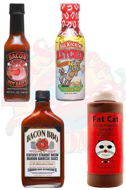 Bacon Lover Hot Sauces Gift Set, 1/5oz, 12oz,13oz,14.5oz.