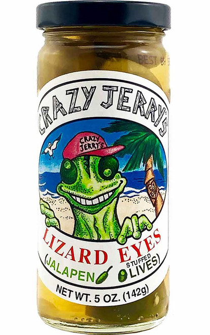 Crazy Jerry's Lizard Eyes Jalapeno Stuffed Olives, 5oz.