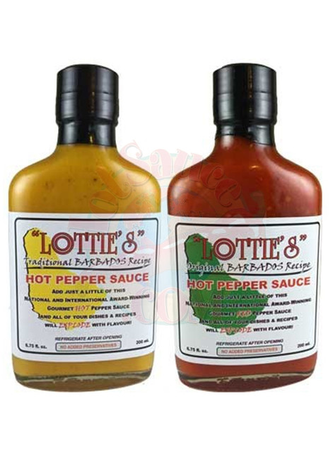 Lottie's Barbados Yellow & Red Hot Pepper Sauces Set, 2/6.75oz.