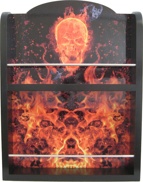 Hot Sauce 2 Shelf (Flaming Skull) Hot Sauce Rack, Displays 14/5oz. (Sold Out)