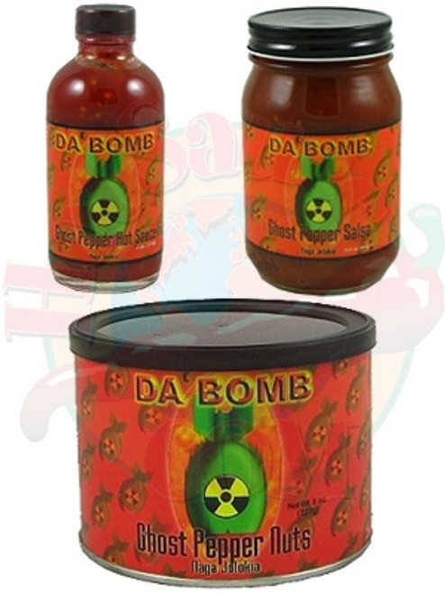 Da Bomb Jolokia Ghost Snacks Gift Set, 8oz, 4oz, 15.5oz.