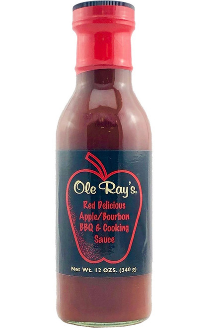 Ole Ray's Red Delicious Apple Bourbon BBQ and Cooking Sauce, 12oz.