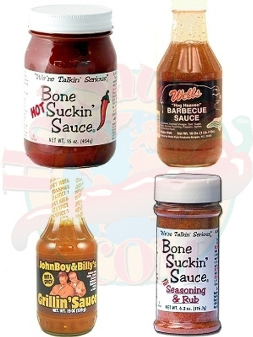North Carolina Hot BBQ Gift Set, 19oz, 18oz, 16oz, 6.2oz.
