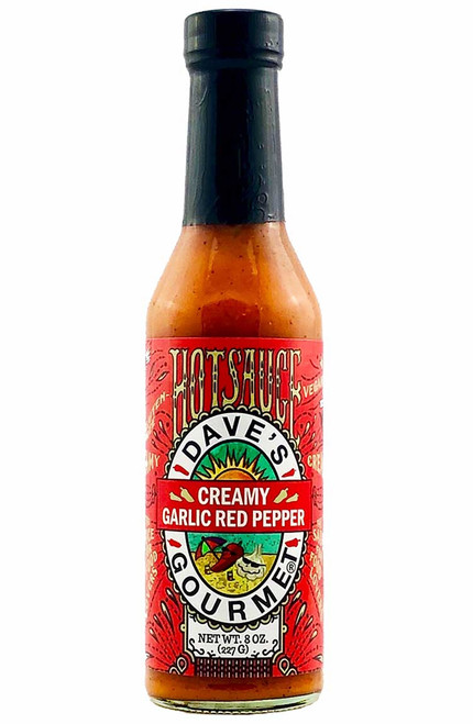 Dave's Gourmet Creamy Garlic Red Pepper Hot Sauce, 8oz.