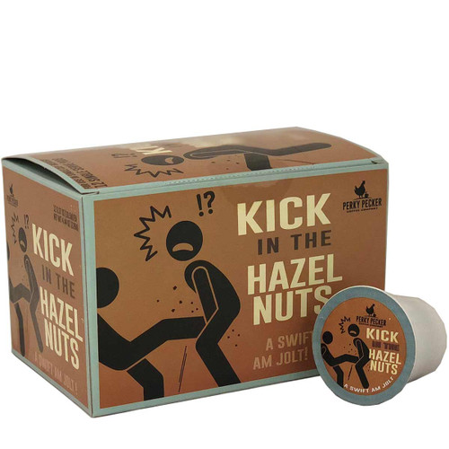 Perky Pecker Coffee Co. Kick in the Hazelnuts Coffee Pods, 12 Pods.