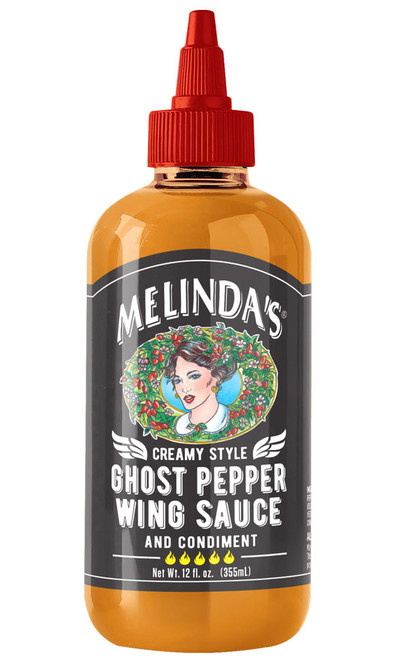 Melinda's NEW Creamy Style Ghost Pepper Wing Sauce, 12oz.