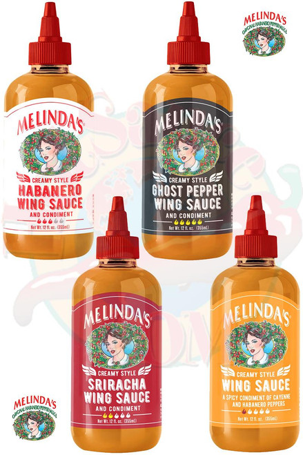 Melinda's NEWEST Creamy Style Wing Sauces Gift Set, 4/12oz.
