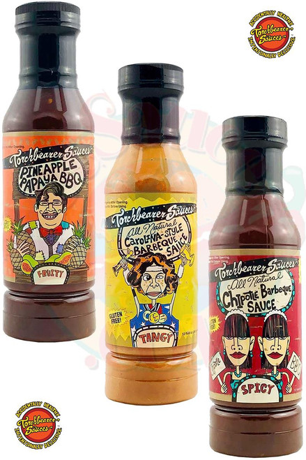 Torchbearer Fruity Tangy Spicy BBQ Sauces Gift Pack, 3/12oz.