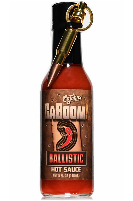 Caboom! Ballistic Hot Sauce with Bullet Keychain, 5oz.