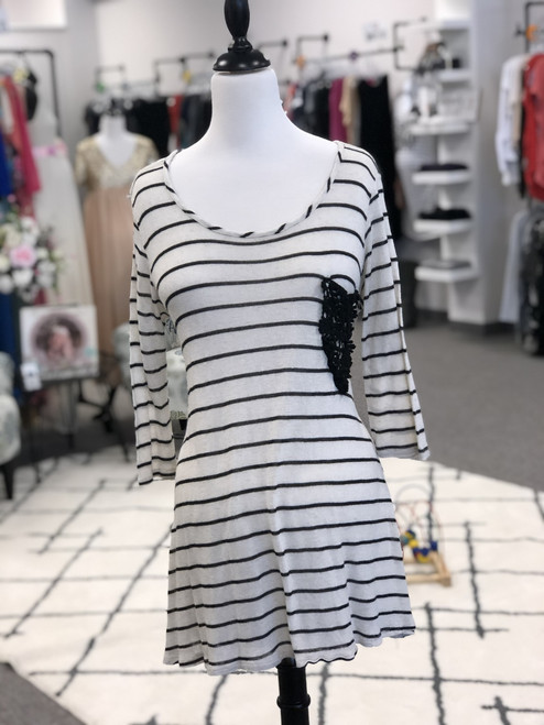 Pink Blush Sweater. Cream and black stripe. Size XL. Pre-loved