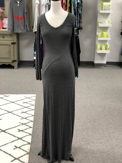 A pea in the pod grey maxi dress. Long sleeve. Size medium. Stretch fabric. 96% rayon 4% spandex. Dry Clean Only. Pre-loved.
