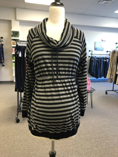 Two Hearts Maternity cowl neck top. long sleeve. Black and grey stripe. Size large. Stretch fabric. Machine washable. Pre-loved.
