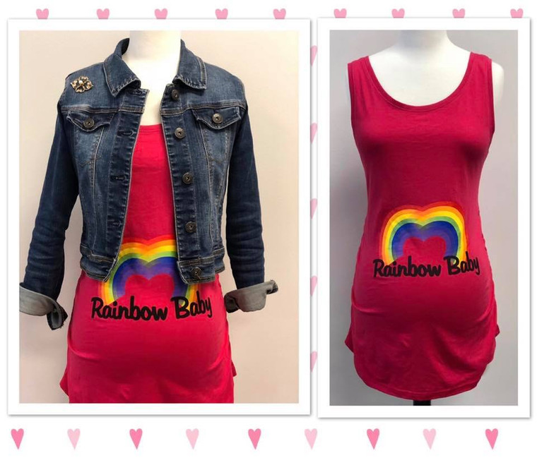 """This colorful design features a heart shaped rainbow with the phrase, """"Rainbow Baby"""" to let everyone know you're expecting a little miracle.  Women's Maternity Tank Top Condition: Brand New 100% ringspun cotton - ultra soft jersey knit fabric with extra stretch Elastic side ruching makes this maternity shirt both comfortable and flattering for the mom to be! Scoop Neck Slightly fitted through body with added length to hug the hips Printed in USA; Imported fabric Tag-free label for comfort Machine wash cold, tumble dry low"""