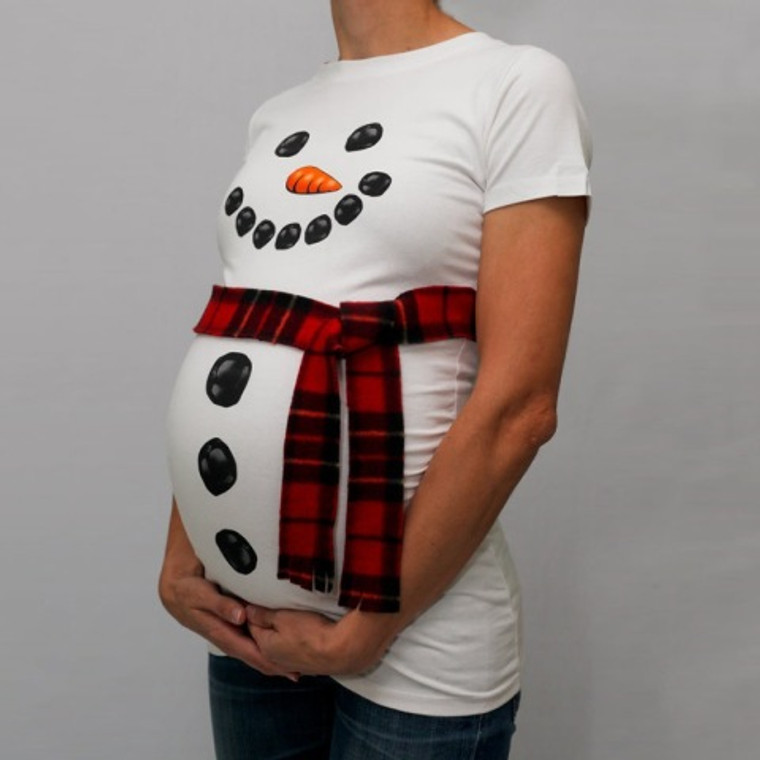 Snowman Tee with handmade Plaid Belt included. Regular fit but can be worn as maternity. Machine washable. New.
