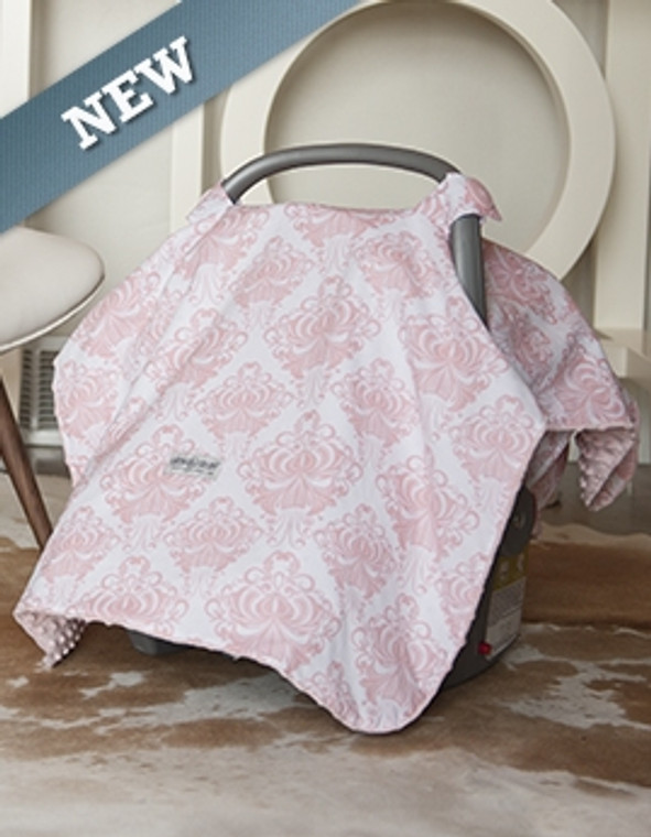 Print: Shades of Light Pink & White Minky: Light Pink The Angelina Canopy fits most makes and models of infant car seats* Adjustable attachment straps allow for a custom fit Machine washable, hang dry