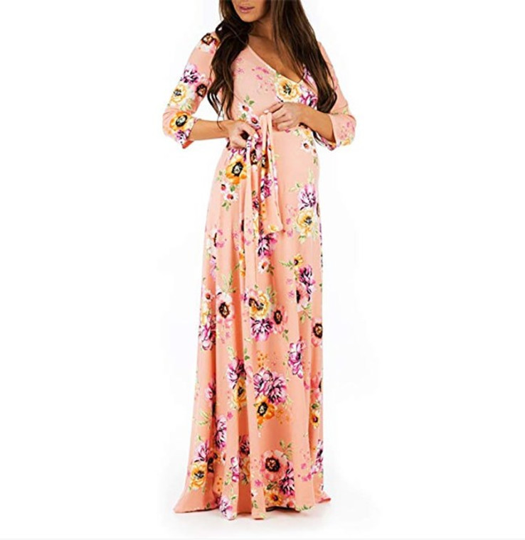 Peach Floral Print Maternity Maxi Dress