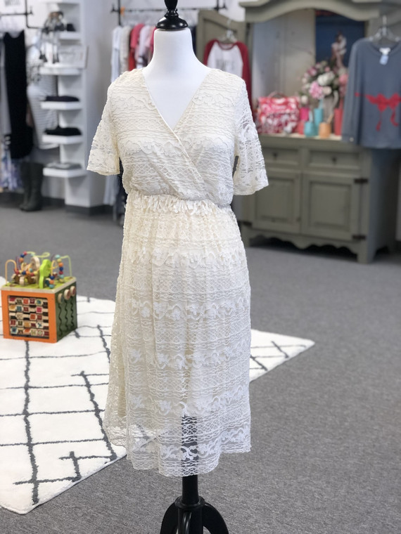 Asos Maternity cream lace dress. Size 8. Stretch fabric. Main: 68% cotton 32% nylon Lining: 100% polyester. Machine washable. Pre-loved.