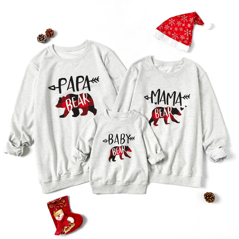 Merry Christmas Series Family Matching Grey Sweatshirts