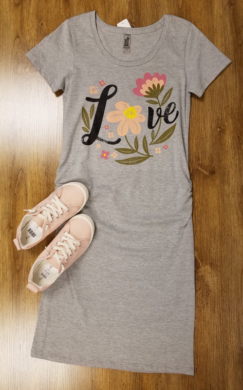 Brand new comfortable LOVE graphic t-shirt dress perfect for anytime of day!