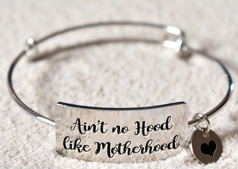 """Material: durable rhodium, the same material used in white gold! It is lead free and nickel free, hypoallergenic, it doesn't rust, change color or tarnish.   Size:bangle diameter: 6.5cm (2.56inch) adjustable  One Size Fits All: Adjustable up to about 9""""  What better hood than Motherhood! The """"Ain't No Hood Like Motherhood Bracelet""""is the perfect shower gift, birthday gift, holiday gift or just for yourself."""