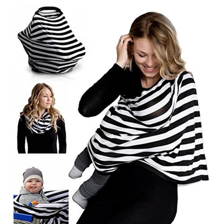 Multi-use nursing covers give you all the benefits that the traditional covers do... and more! also functions as a car seat cover, scarf, and shopping cart cover provides true ALL OVER COVERAGE front and back made of comfortable, stretchy fabric takes seconds to put on and take off alleviates any worry that your baby will kick or pull your cover off features a flexible neck that can be worn down under one arm and also allows you to peek in to make sure your little one has latched properly can be folded very small and in any fashion for storage one size fits most You can truly nurse anytime, anywhere!