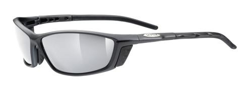 Uvex Karma Sunglasses, Black Frame Silver mirror Lens