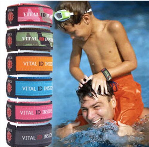 100% waterproof - Our medical alert bracelet is fine to use in the swimming pool & ocean.