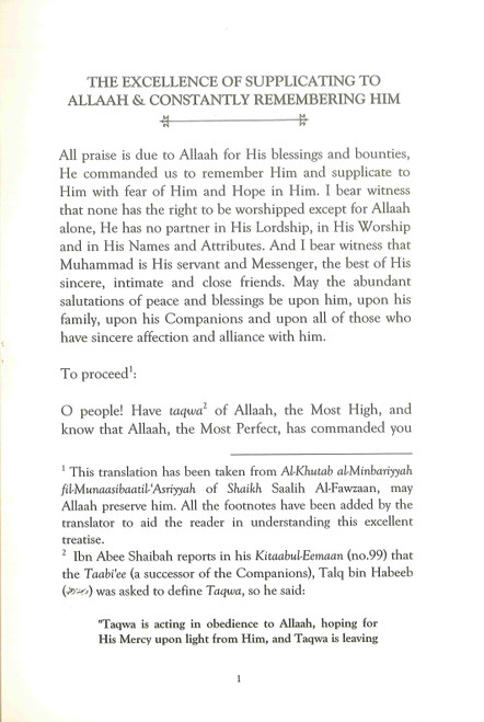 The Excellence of Supplicating to Allaah & Constantly Remembering Him