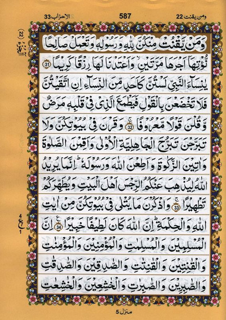 Al Quran Al kareem Arabic only (13 lines with Urdu-Persian-Hindi Script)