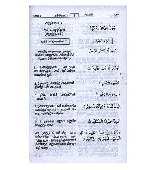 Quran in Tamil Language ( Arabic To Tamil Translation)