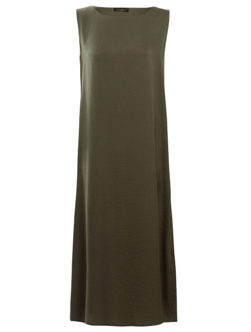 KHAKI SLIP DRESS SLEEVELESS