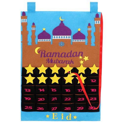Eid Ramadan Mubarak Felt Hanging Countdown Muslim 2021 Kids Gift Blue Calendar