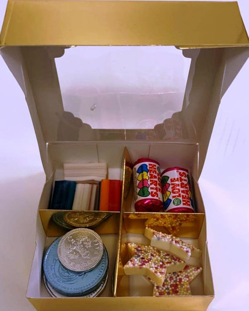 Gold Sweets Box Pick and Mix 4 Selection of Halal Sweet Zone Jelly (21413)