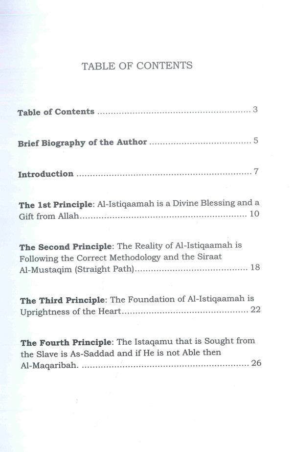 TEN PRINCIPLES ON AL-ISTIQAAMAH