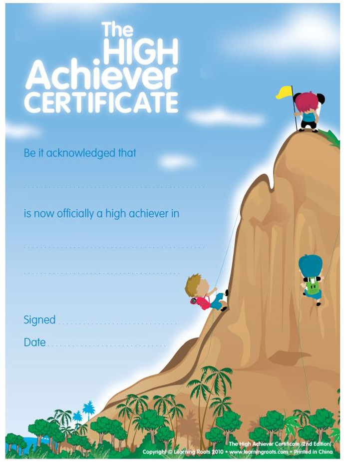 High Achievers Certificate (25 Pack - A4 Size)