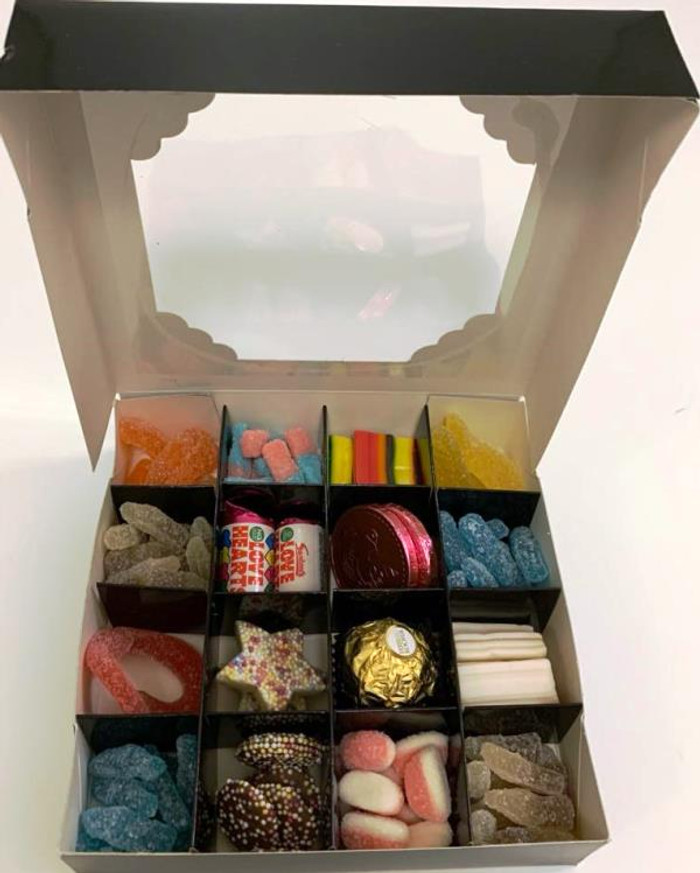 Black Sweets Box Pick and Mix 16 Selection of Halal Sweet Zone Jelly (22714)