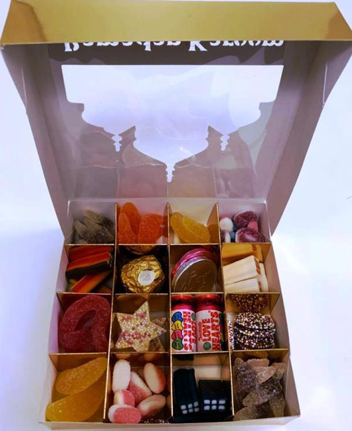 Ramadhan Mubarak Gold Sweets Box Pick and Mix 16 Selection of Halal Sweet Zone Jelly / Gifts / Eid / Food
