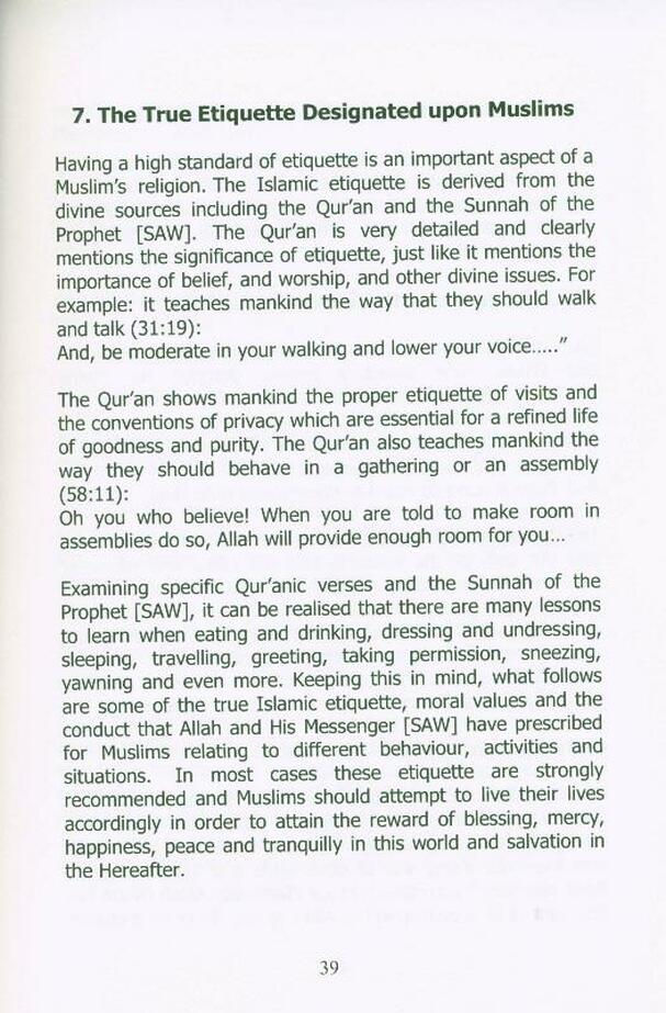 The True Islamic Etiquette