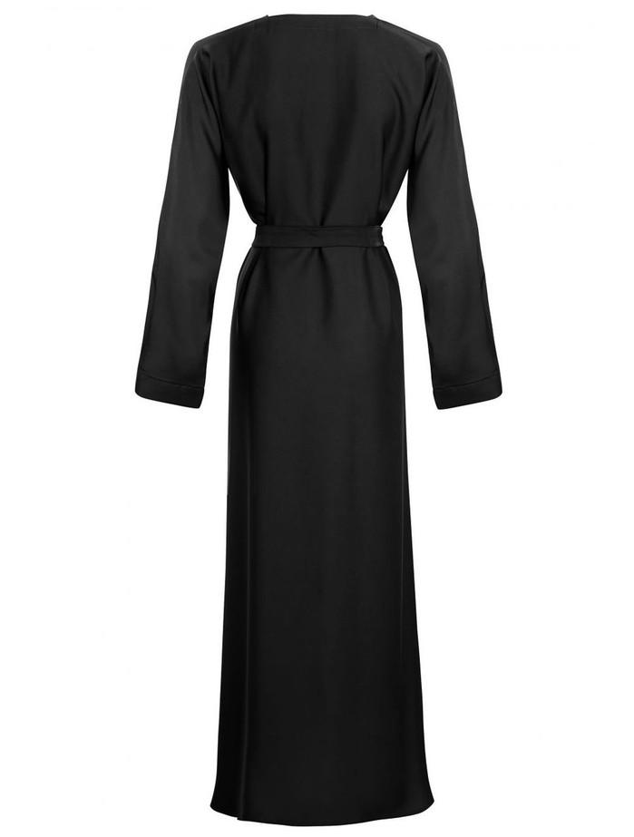 Black Basic Abaya Nida Fabric, Zadina