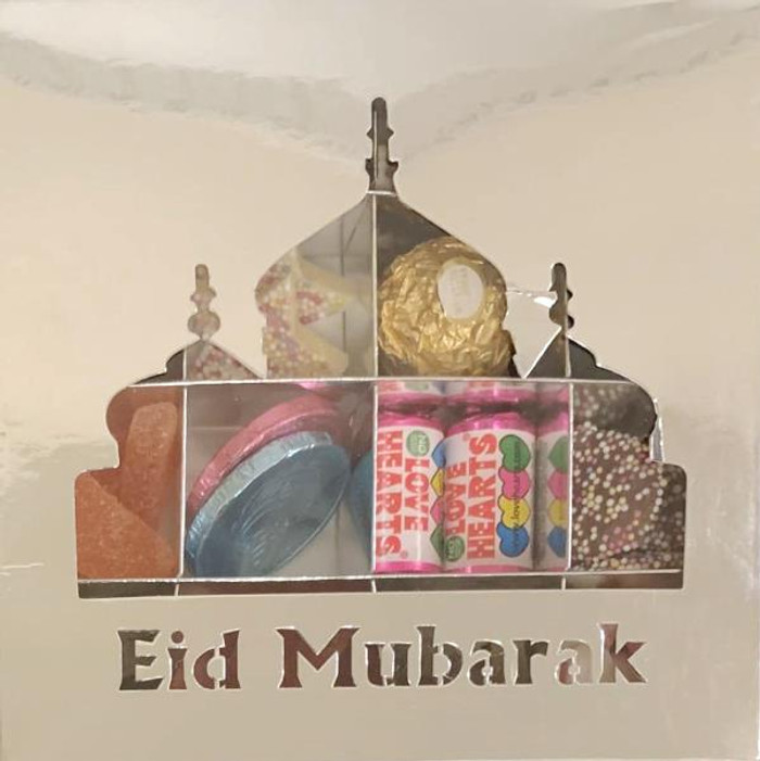 Eid Mubarak Silver Sweets Box Pick and Mix 16 Selection of Halal Sweet Zone Jelly (24228)