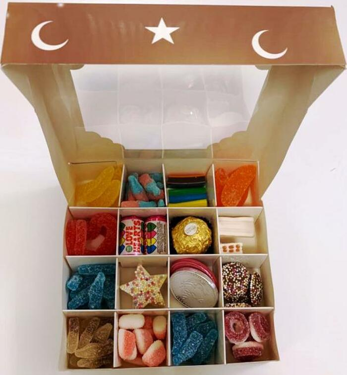 Eid Mubarak Brown Sweets Box Pick and Mix 16 Selection of Halal Sweet Zone Jelly (24229)