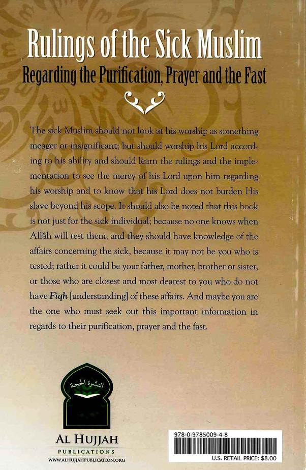 Rulings of the Sick Muslim Regarding Purification, Prayer & Fast
