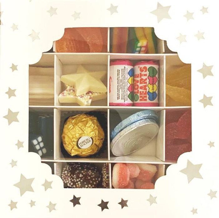 White Sweets Box Silver Star Pick and Mix 16 Selection of Halal Sweet Zone Jelly (21408)