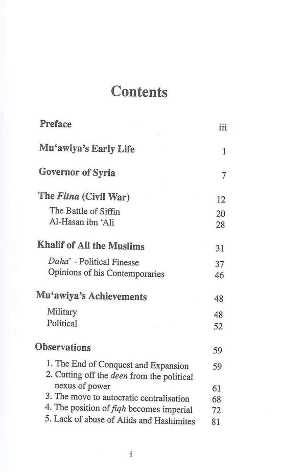 Muawiya : Restorer of the Muslim Faith